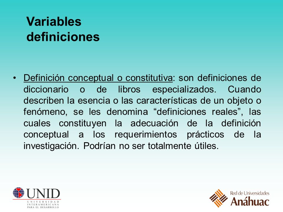 Variables definiciones