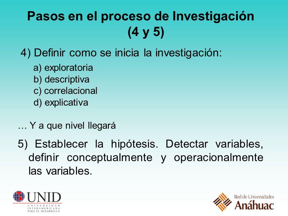 Pasos en el proceso de Investigación (4 y 5)