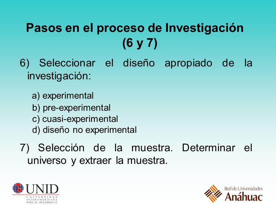 Pasos en el proceso de Investigación (6 y 7)