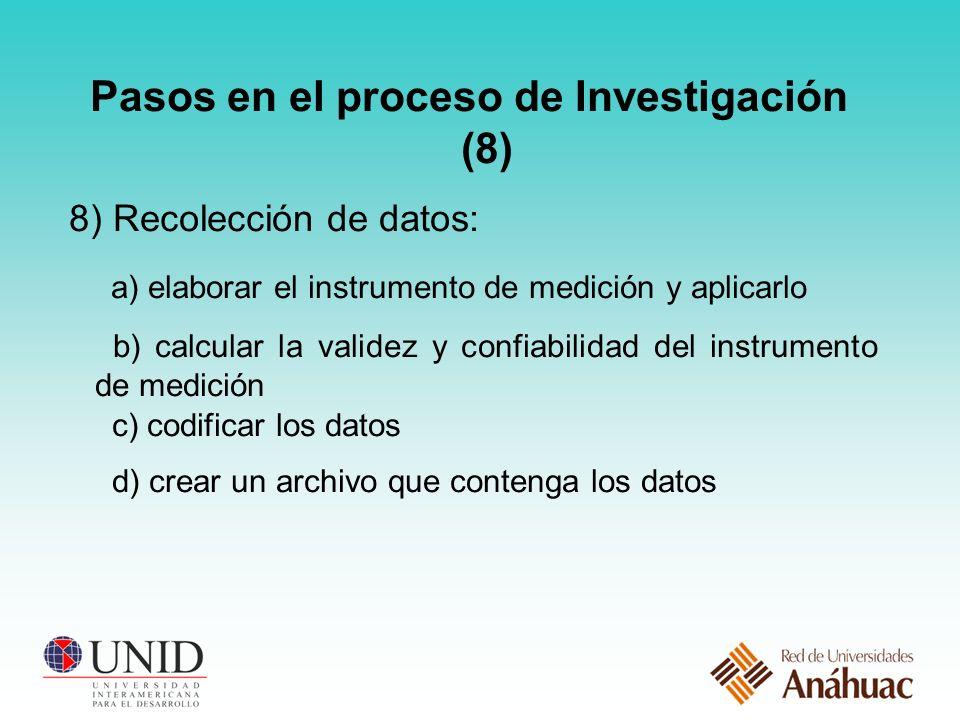 Pasos en el proceso de Investigación (8)