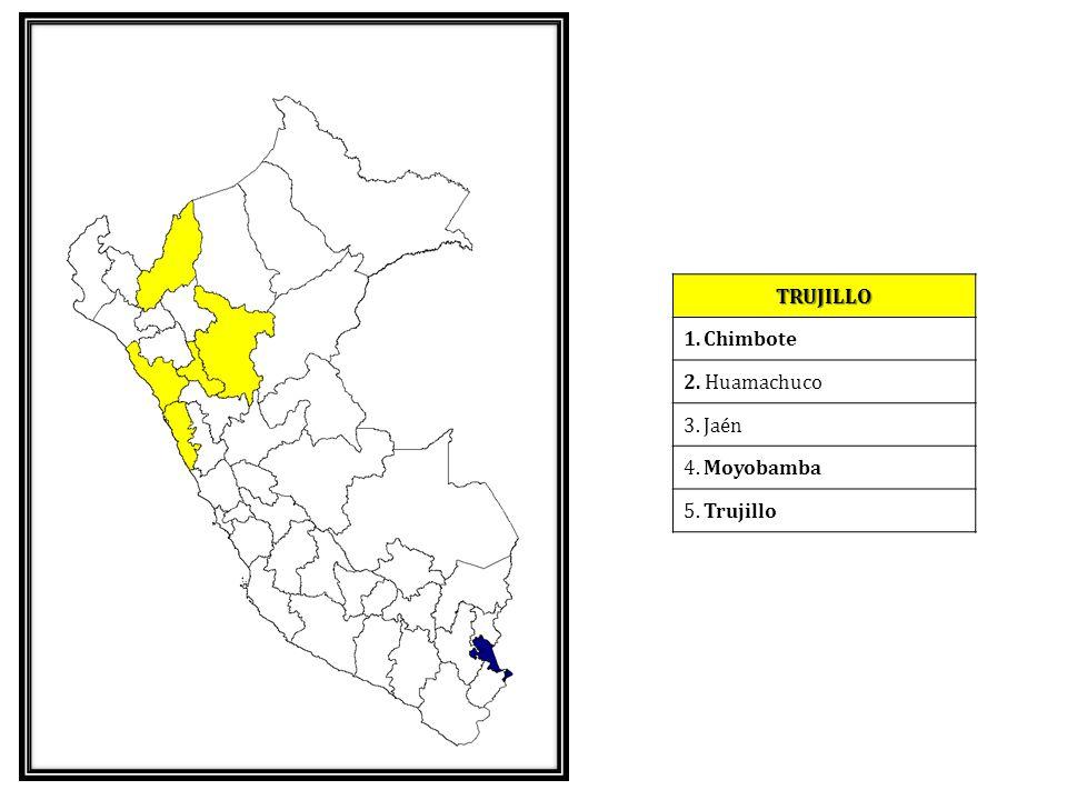 TRUJILLO Chimbote 2. Huamachuco 3. Jaén 4. Moyobamba 5. Trujillo
