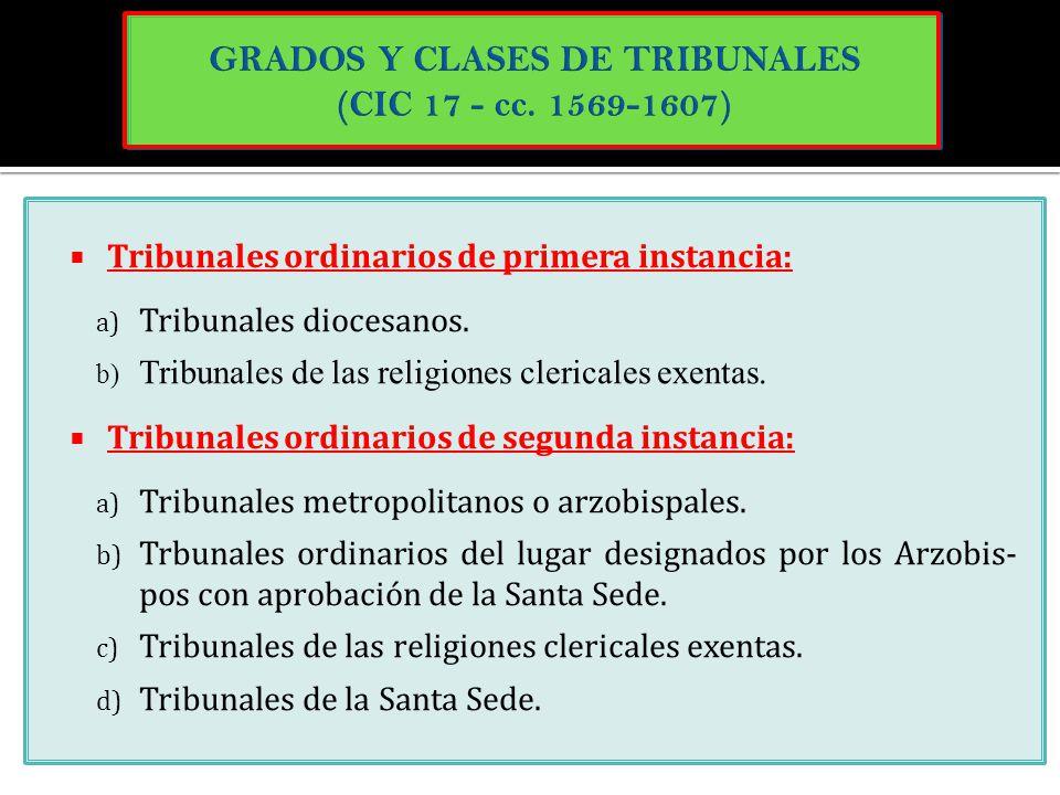 GRADOS Y CLASES DE TRIBUNALES (CIC 17 - cc. 1569-1607)