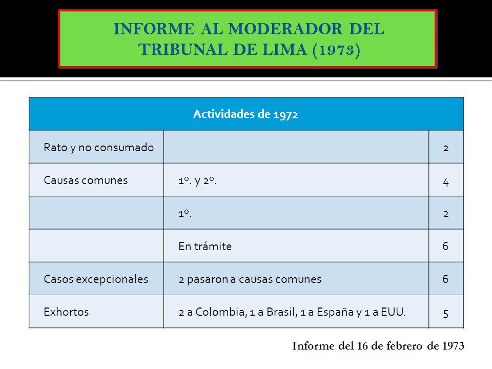 INFORME AL MODERADOR DEL TRIBUNAL DE LIMA (1973)