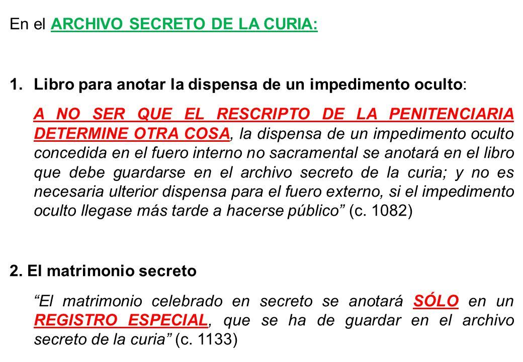 En el ARCHIVO SECRETO DE LA CURIA: