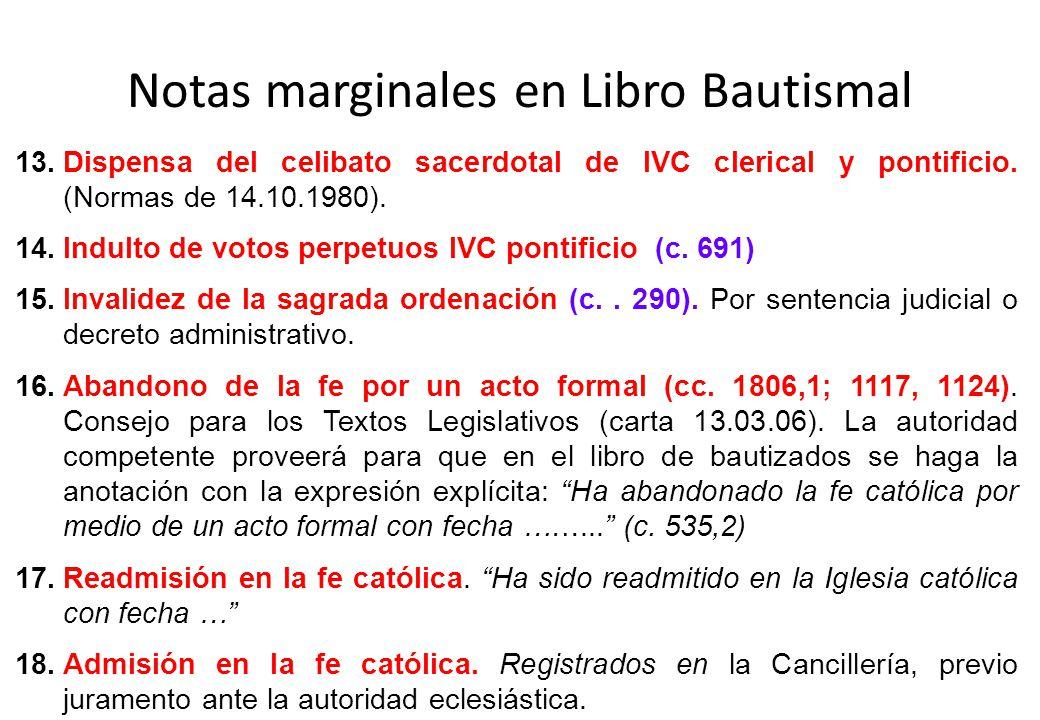 Notas marginales en Libro Bautismal
