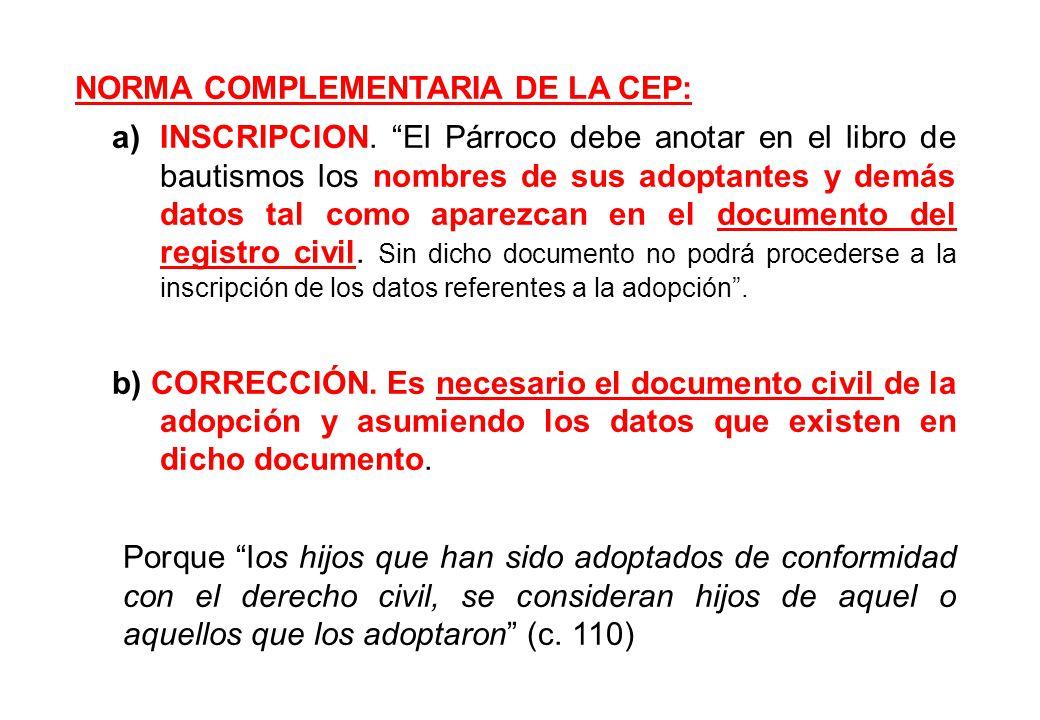 NORMA COMPLEMENTARIA DE LA CEP:
