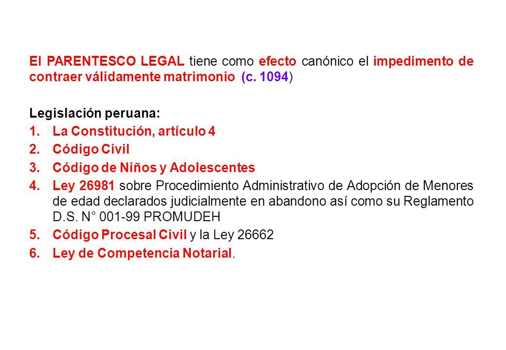 El PARENTESCO LEGAL tiene como efecto canónico el impedimento de contraer válidamente matrimonio (c. 1094)