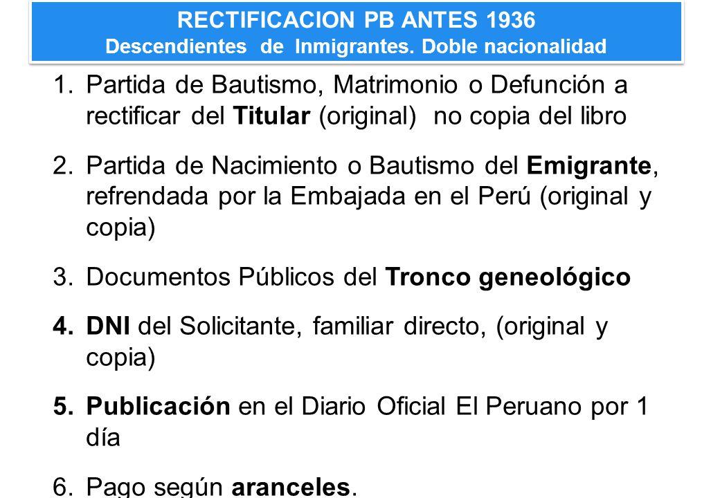 Documentos Públicos del Tronco geneológico