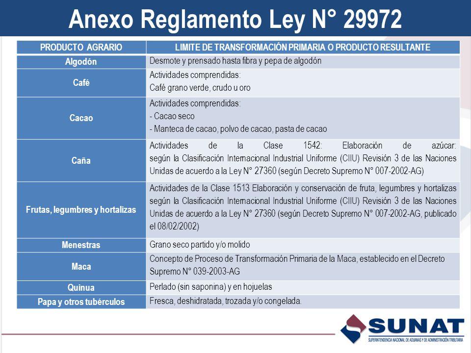 Anexo Reglamento Ley N° 29972