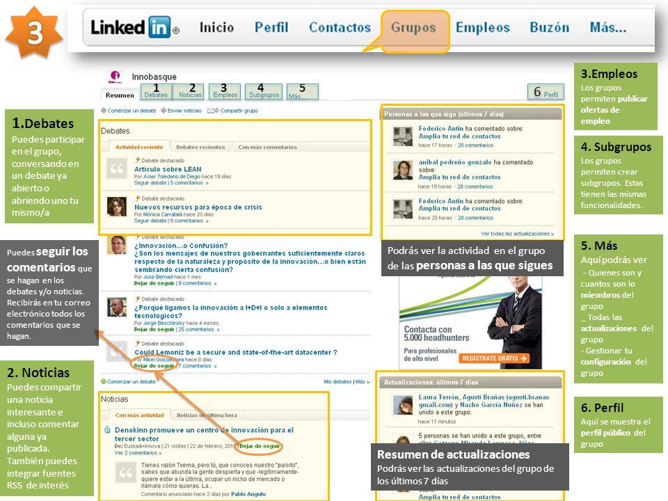 3 3.Empleos Los grupos permiten publicar ofertas de empleo. 1. 2. 3. 4. 5. 6.