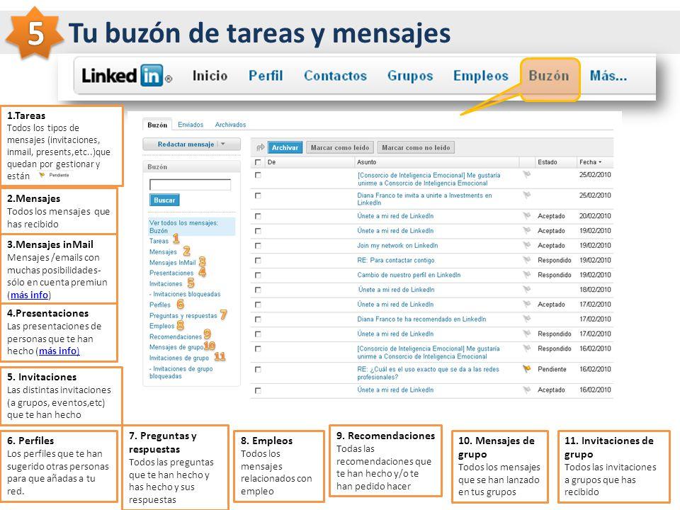 5 Tu buzón de tareas y mensajes 1 2 3 4 5 6 7 8 9 1.Tareas 2.Mensajes