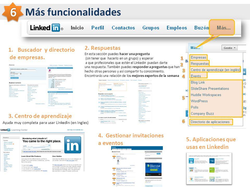 6 Más funcionalidades 2. Respuestas Buscador y directorio de empresas.