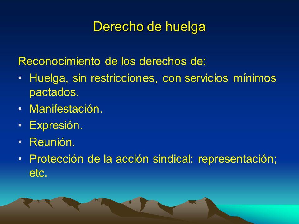 Derecho de huelga Reconocimiento de los derechos de: