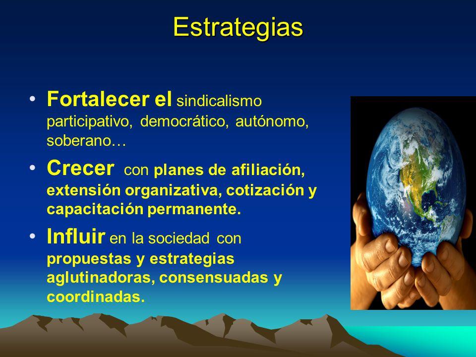 Estrategias Fortalecer el sindicalismo participativo, democrático, autónomo, soberano…
