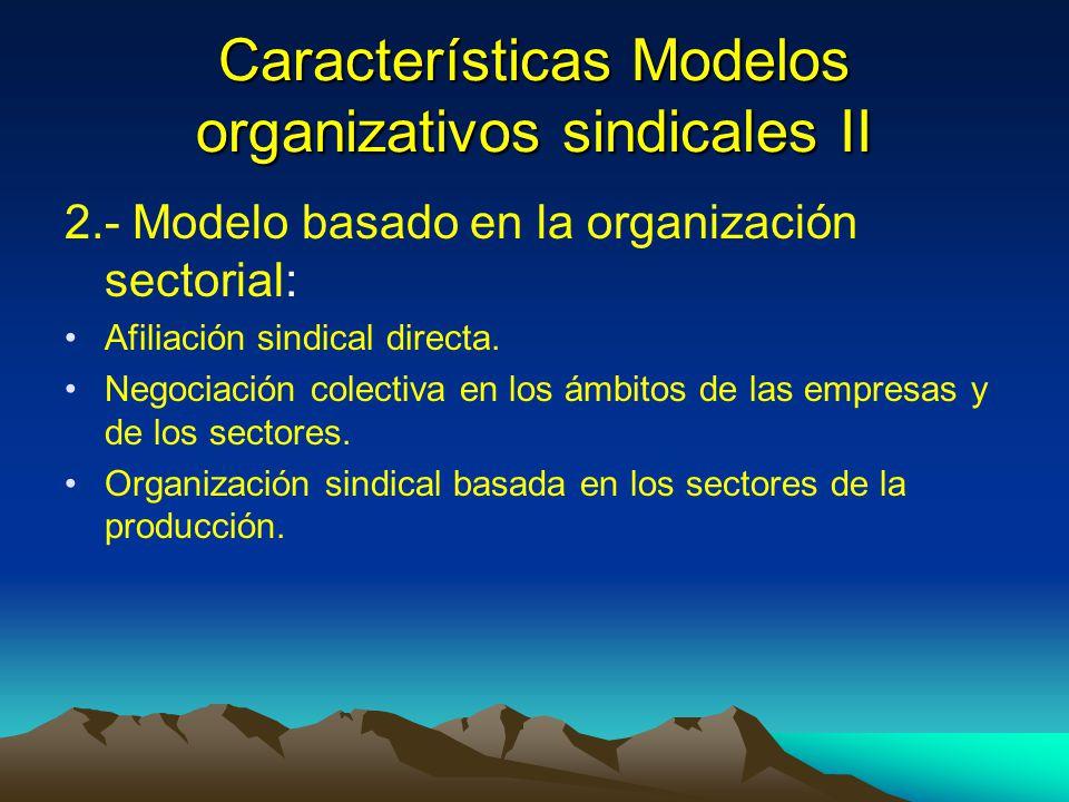 Características Modelos organizativos sindicales II