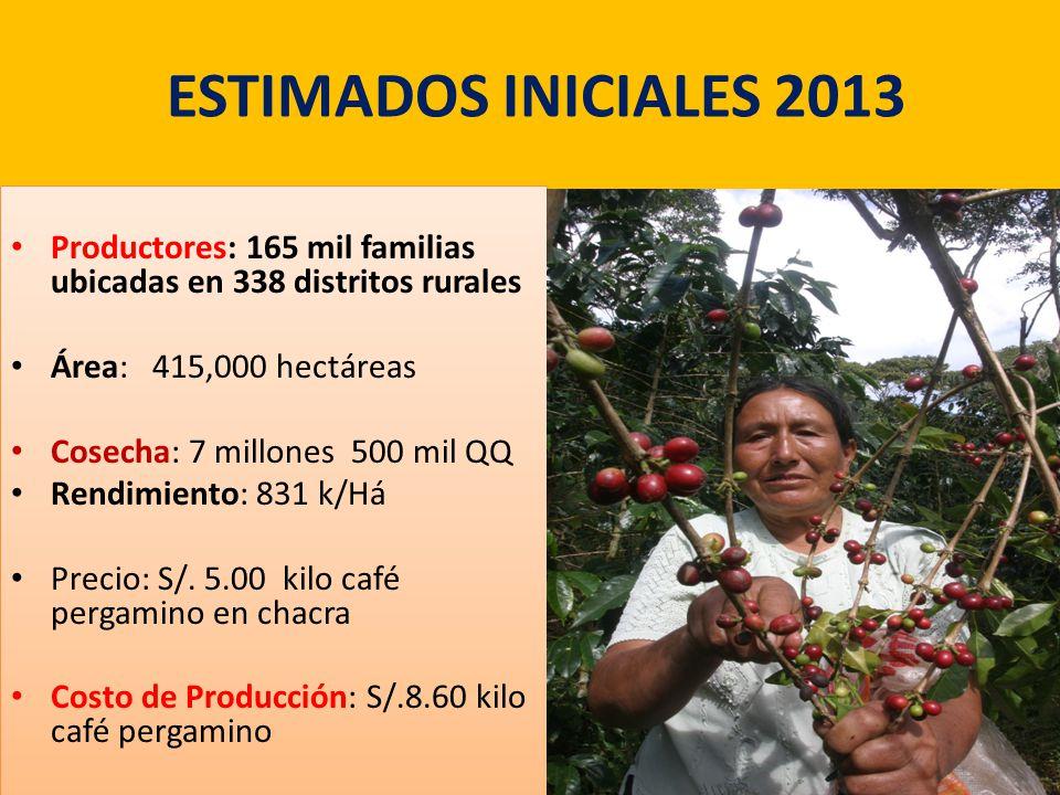 ESTIMADOS INICIALES 2013 Productores: 165 mil familias ubicadas en 338 distritos rurales. Área: 415,000 hectáreas.
