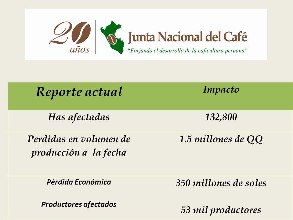 Perdidas en volumen de producción a la fecha Productores afectados