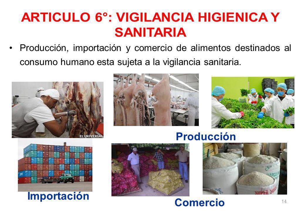 Producción, importación y comercio de alimentos destinados al consumo humano esta sujeta a la vigilancia sanitaria.