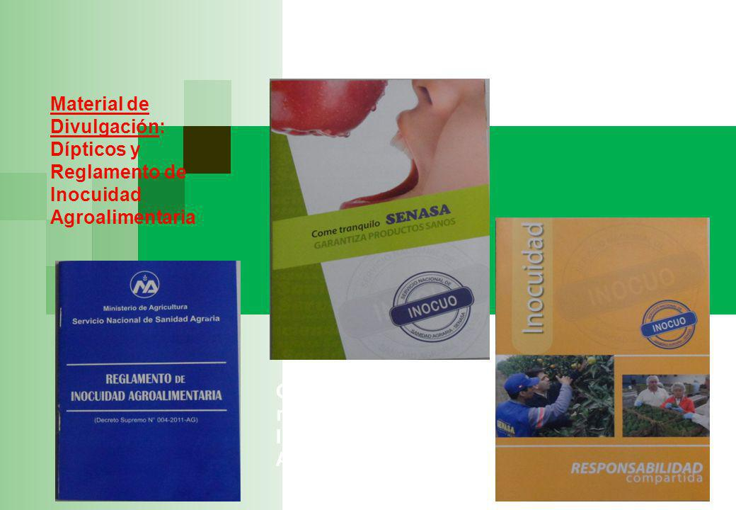 Material de Divulgación: Dípticos y Reglamento de Inocuidad Agroalimentaria