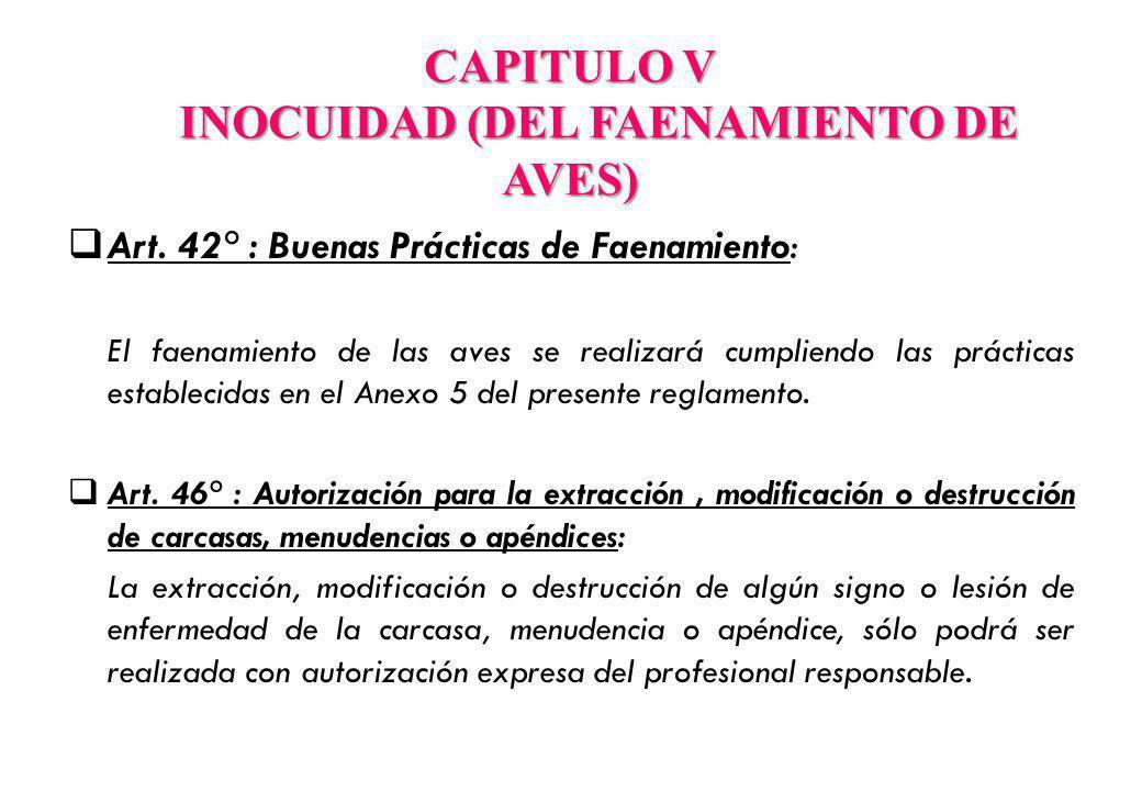 CAPITULO V INOCUIDAD (DEL FAENAMIENTO DE AVES)
