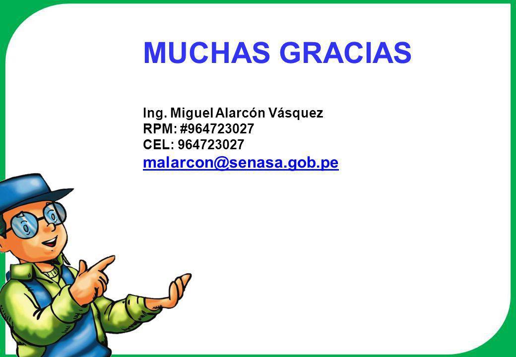 MUCHAS GRACIAS malarcon@senasa.gob.pe Ing. Miguel Alarcón Vásquez