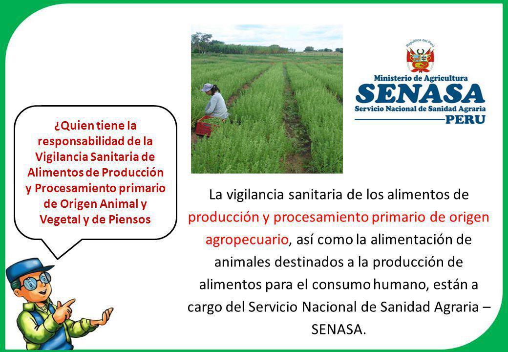 ¿Quien tiene la responsabilidad de la Vigilancia Sanitaria de Alimentos de Producción y Procesamiento primario de Origen Animal y Vegetal y de Piensos