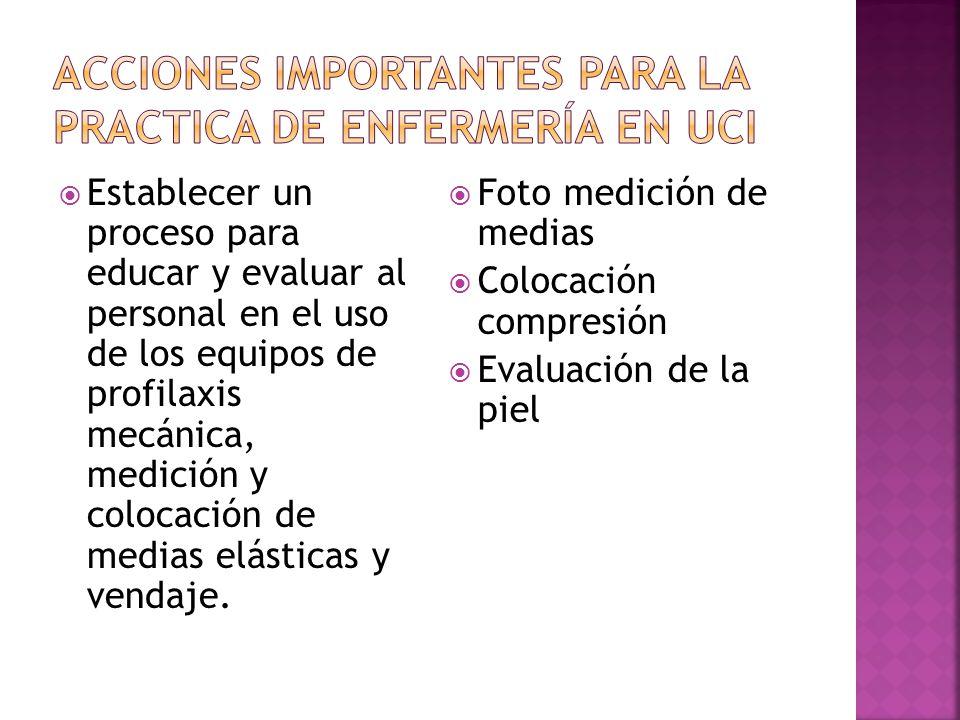 Acciones importantes para la practica de enfermería en uci
