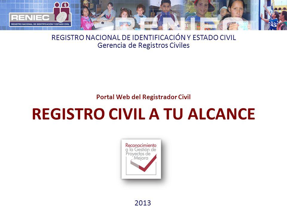 Portal Web del Registrador Civil REGISTRO CIVIL A TU ALCANCE