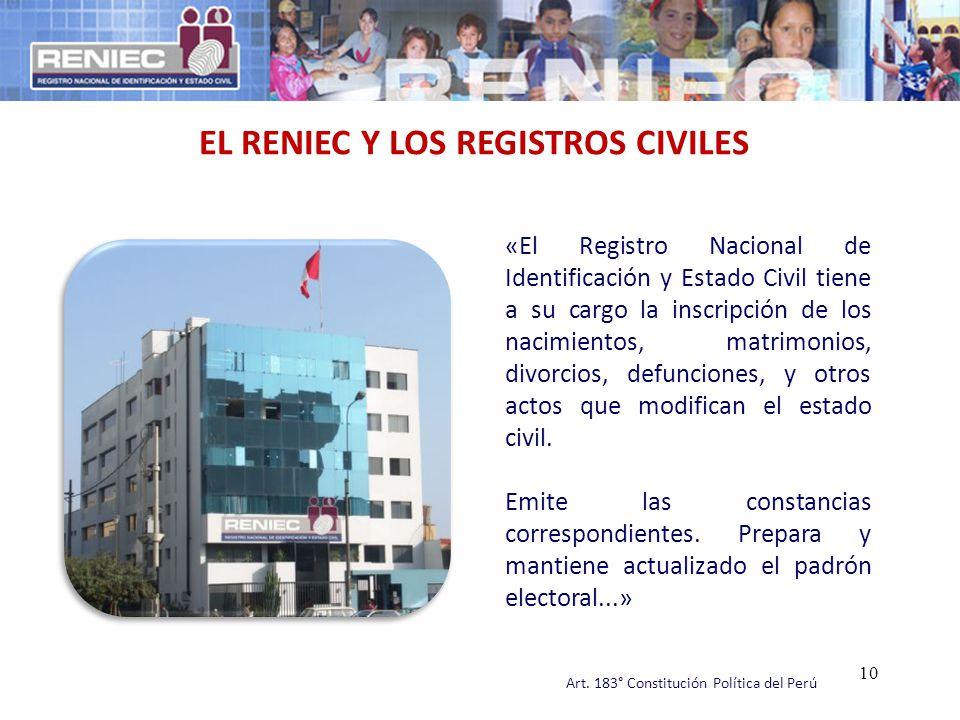 EL RENIEC Y LOS REGISTROS CIVILES