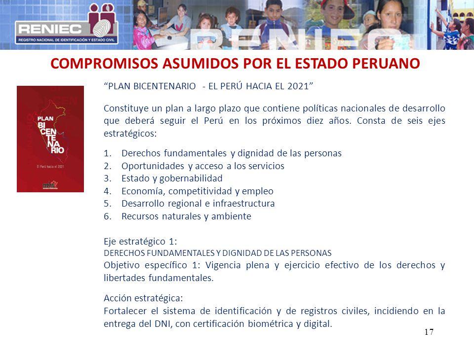 COMPROMISOS ASUMIDOS POR EL ESTADO PERUANO