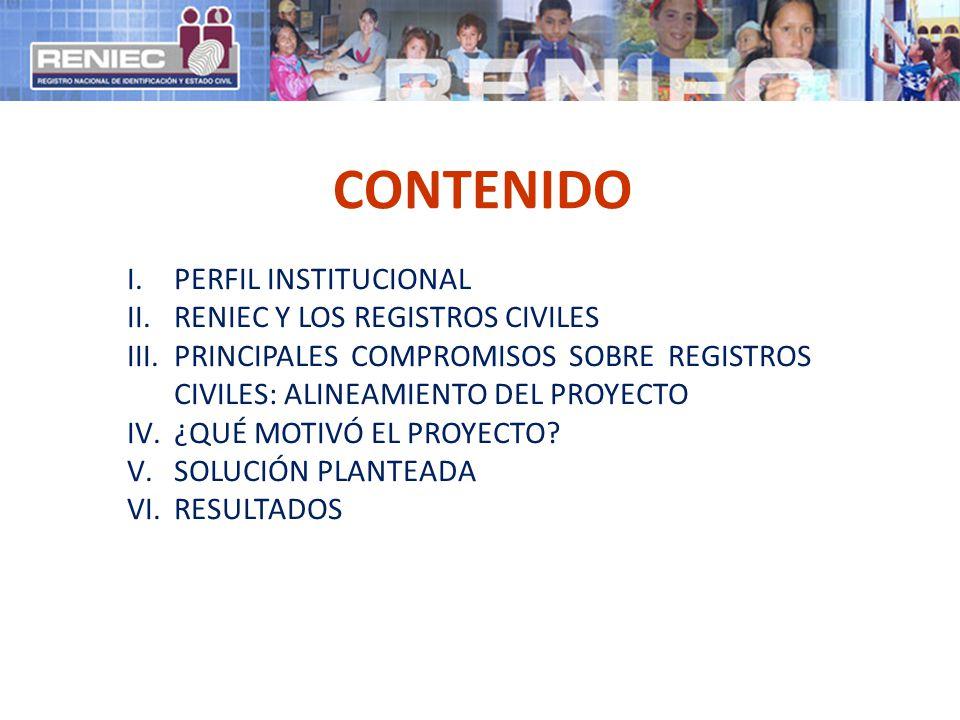 CONTENIDO PERFIL INSTITUCIONAL RENIEC Y LOS REGISTROS CIVILES