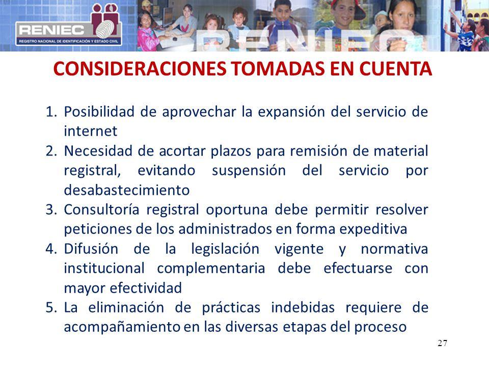 CONSIDERACIONES TOMADAS EN CUENTA