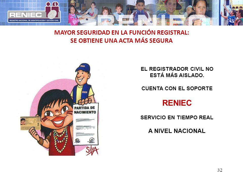 RENIEC MAYOR SEGURIDAD EN LA FUNCIÓN REGISTRAL: