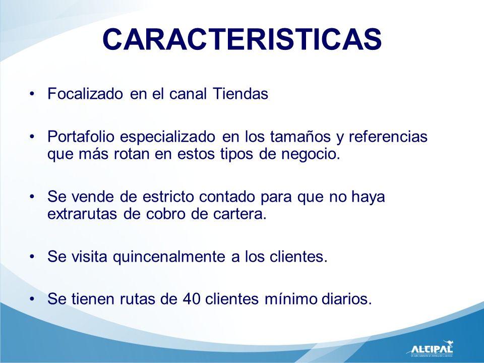 CARACTERISTICAS Focalizado en el canal Tiendas