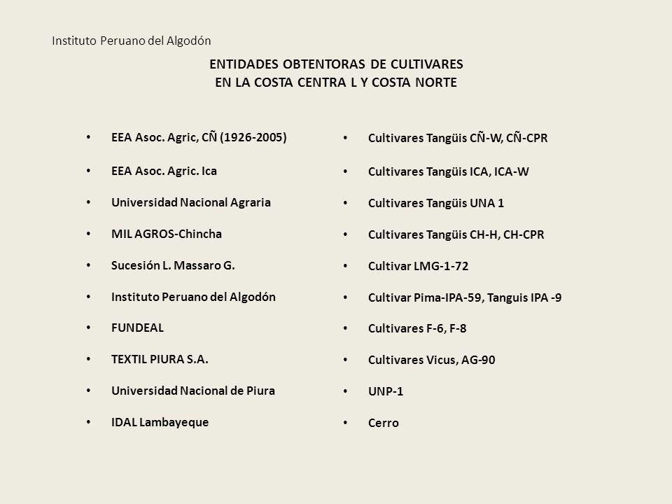 ENTIDADES OBTENTORAS DE CULTIVARES EN LA COSTA CENTRA L Y COSTA NORTE