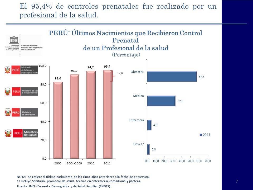 El 95,4% de controles prenatales fue realizado por un profesional de la salud.