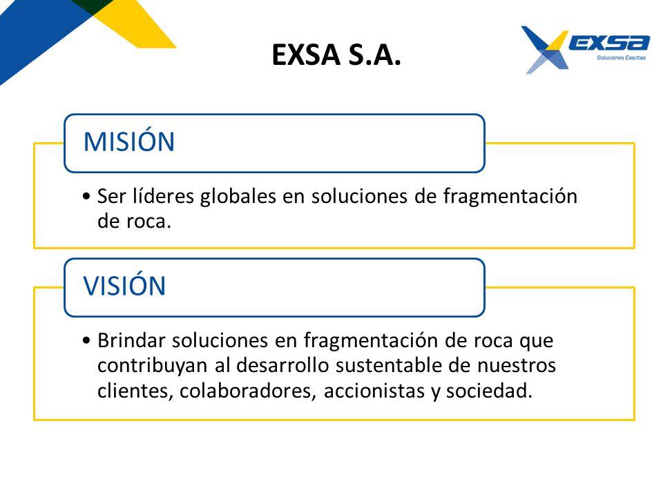 EXSA S.A. MISIÓN. Ser líderes globales en soluciones de fragmentación de roca. VISIÓN.