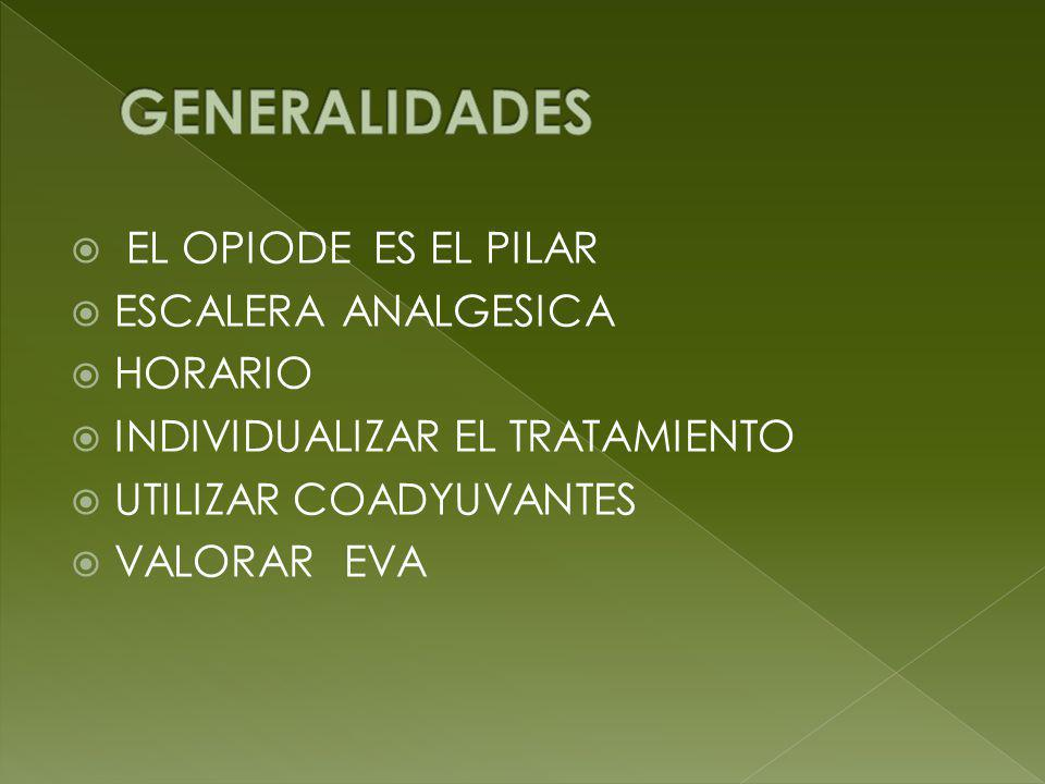 GENERALIDADES EL OPIODE ES EL PILAR ESCALERA ANALGESICA HORARIO