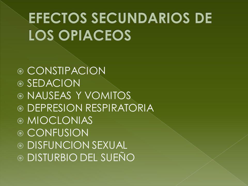 EFECTOS SECUNDARIOS DE LOS OPIACEOS