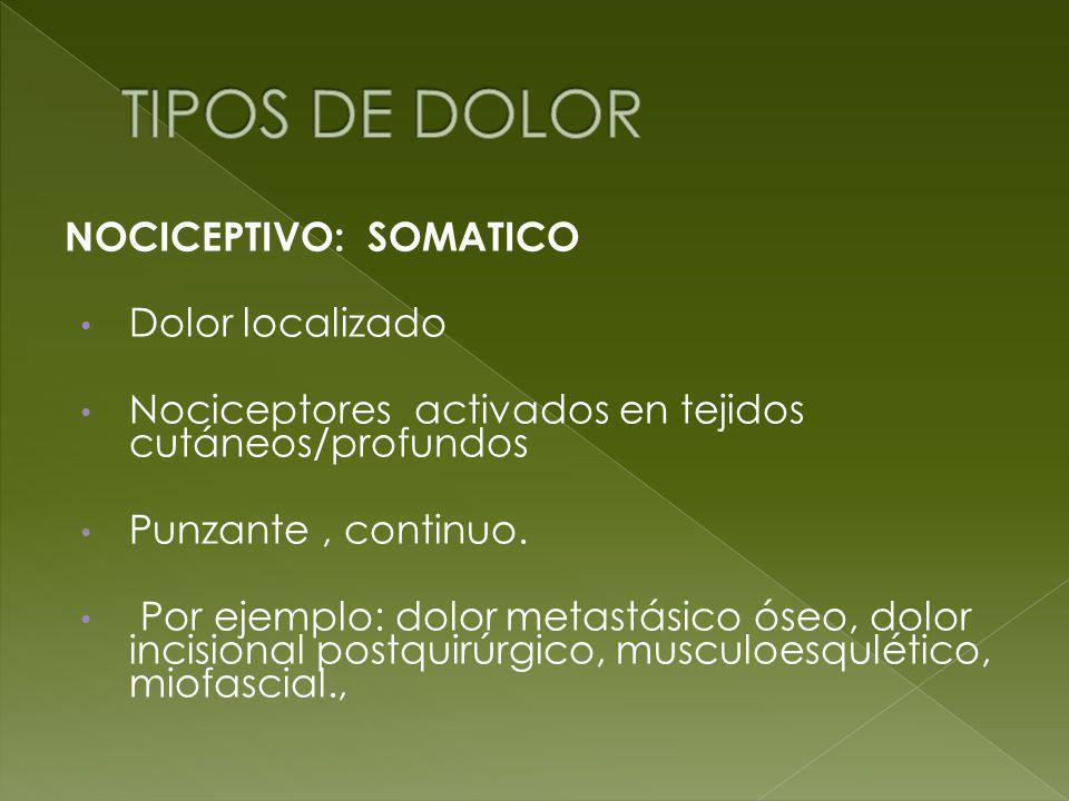 TIPOS DE DOLOR NOCICEPTIVO: SOMATICO Dolor localizado