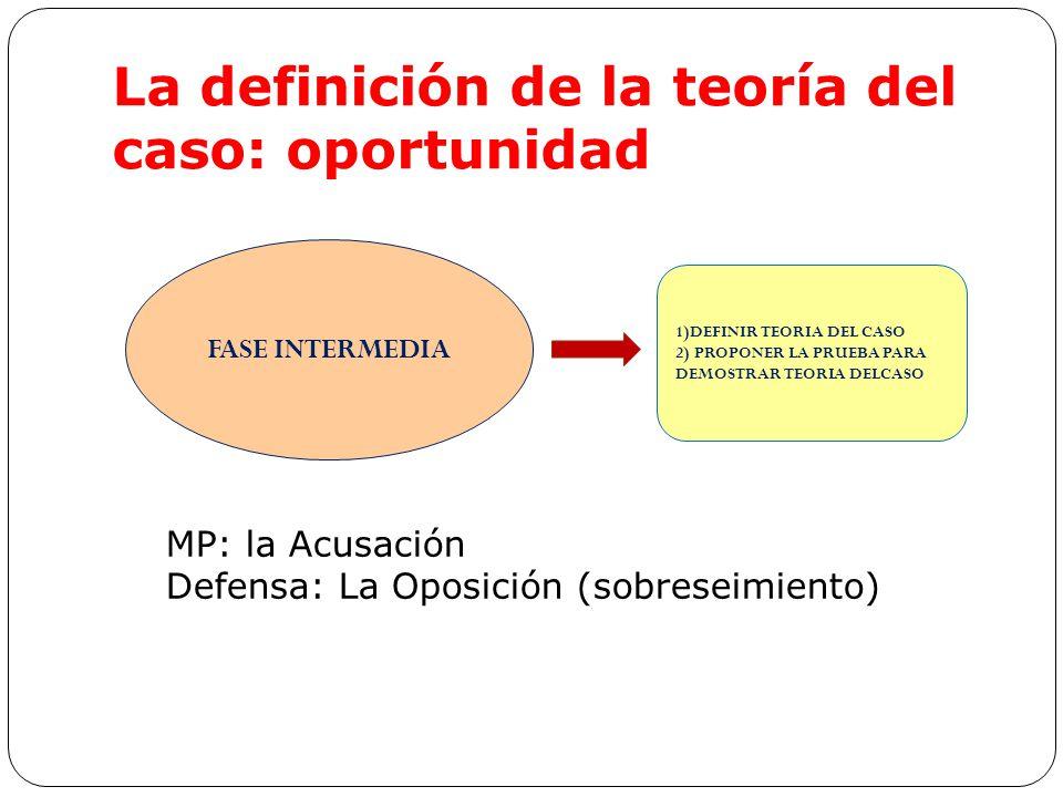 La definición de la teoría del caso: oportunidad