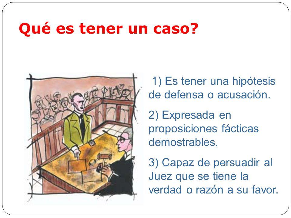 Qué es tener un caso 1) Es tener una hipótesis de defensa o acusación. 2) Expresada en proposiciones fácticas demostrables.