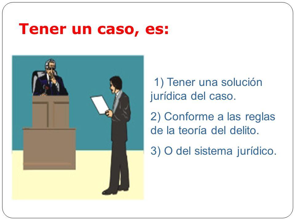 Tener un caso, es: 1) Tener una solución jurídica del caso.