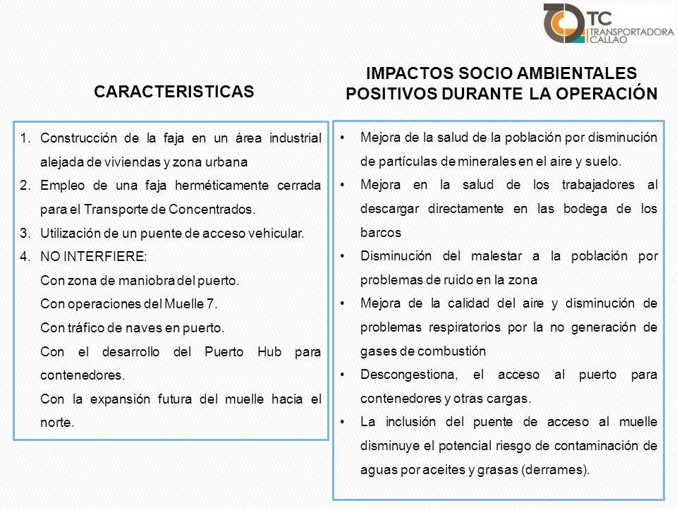 IMPACTOS SOCIO AMBIENTALES POSITIVOS DURANTE LA OPERACIÓN