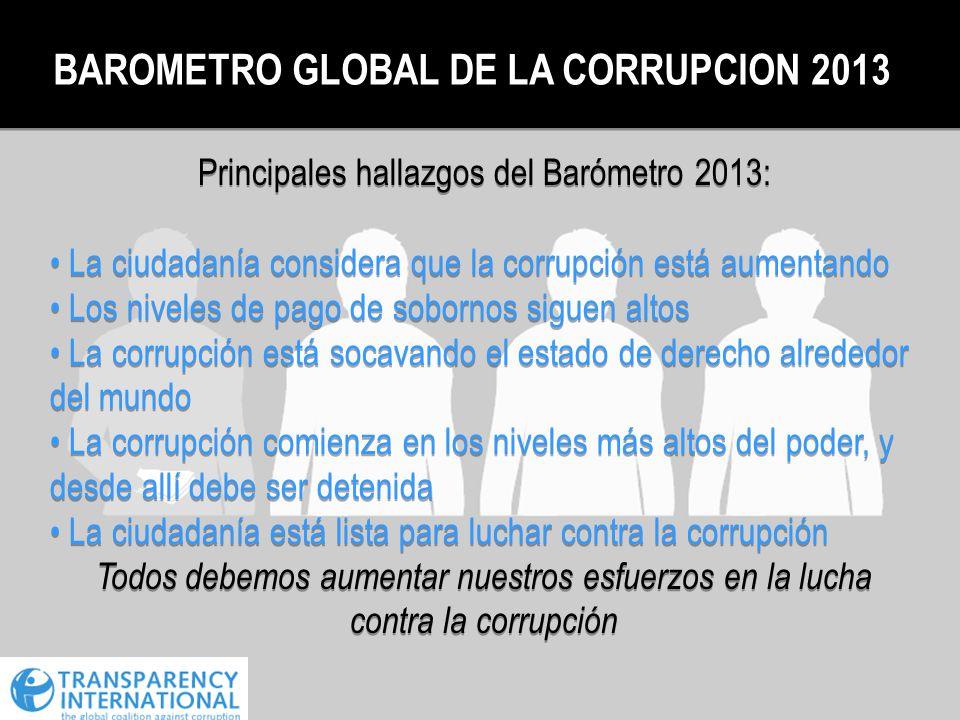 Principales hallazgos del Barómetro 2013: