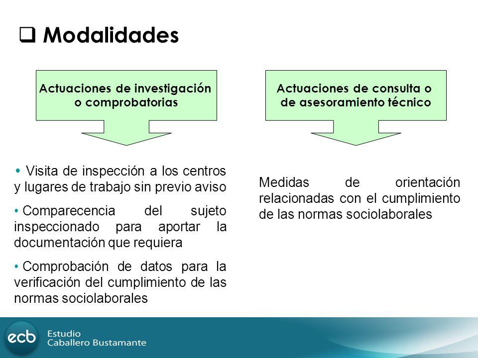 Modalidades Actuaciones de investigación. o comprobatorias. Actuaciones de consulta o. de asesoramiento técnico.
