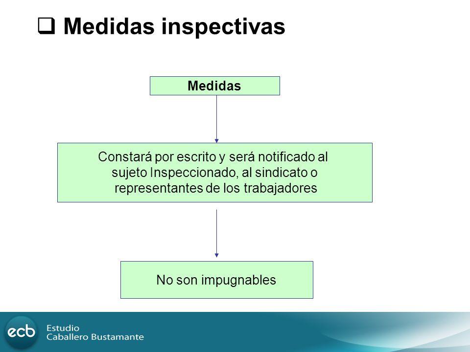Medidas inspectivas Medidas Constará por escrito y será notificado al