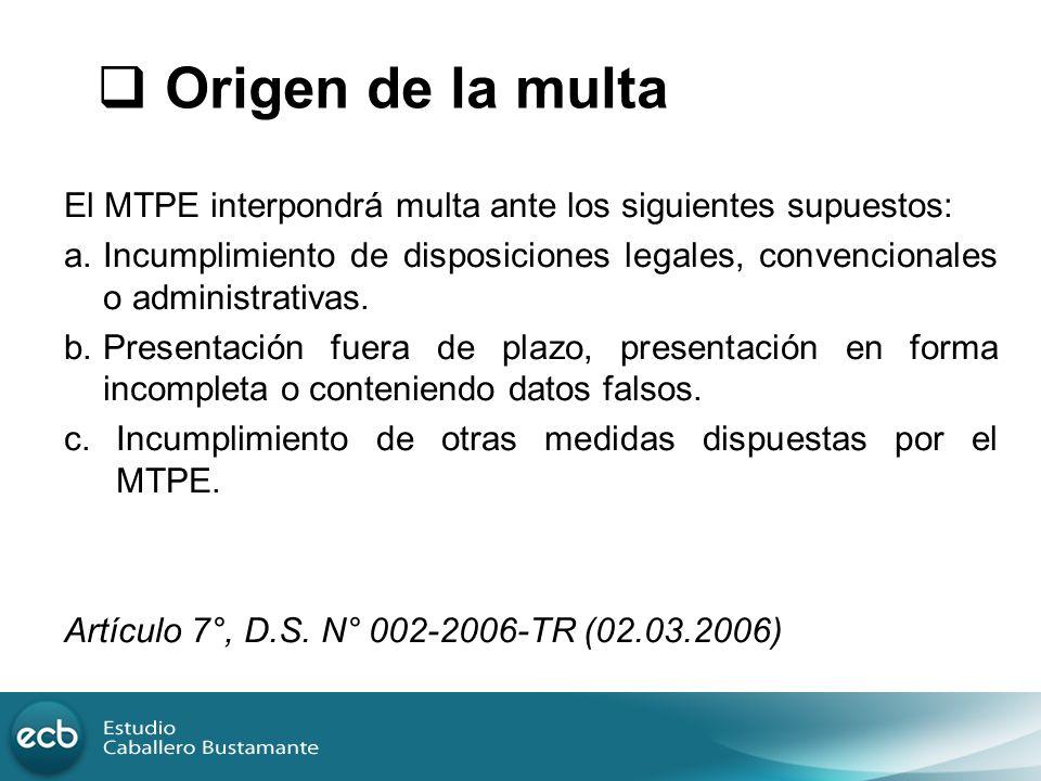 Origen de la multa El MTPE interpondrá multa ante los siguientes supuestos: