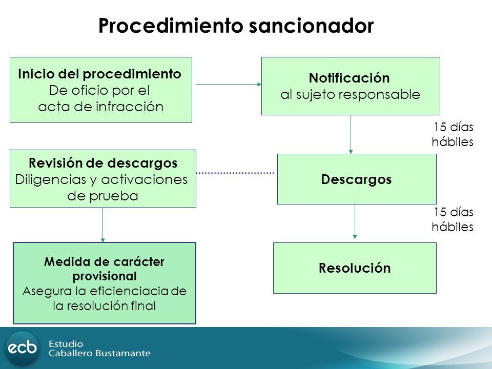 Procedimiento sancionador Medida de carácter provisional