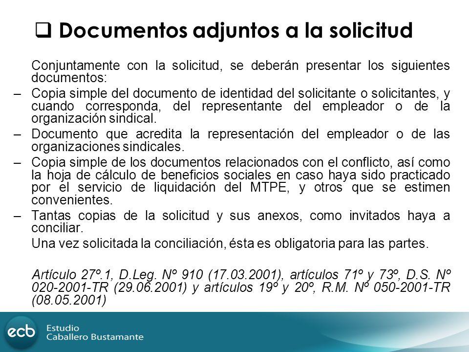 Documentos adjuntos a la solicitud